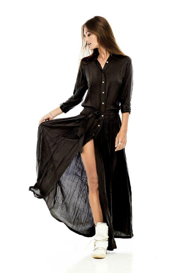 Платье рубашка из черного хлопка