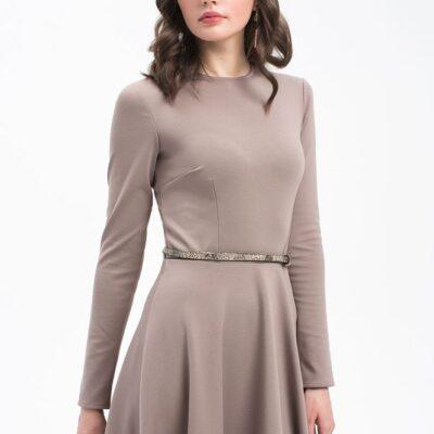 Платье расклешенное бежевое
