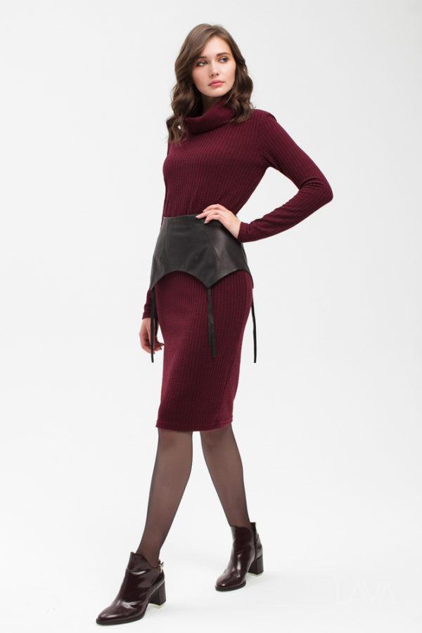 Дизайнерское платье лапша бордо