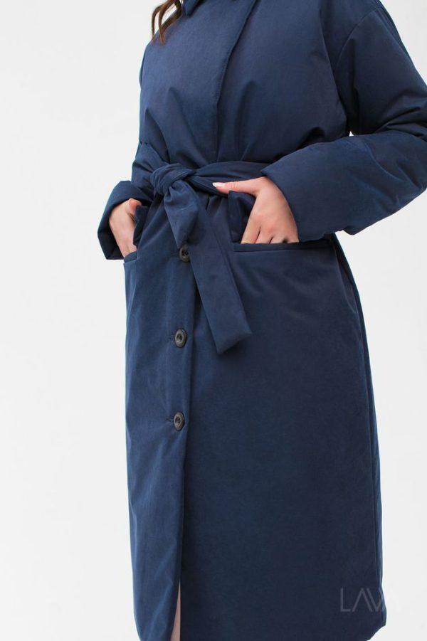 Дизайнерская зимняя куртка синяя