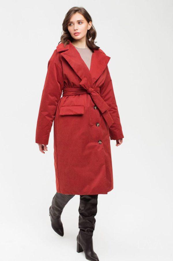 Дизайнерская зимняя куртка красная