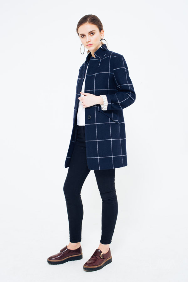 Шерстяное пальто-пиджак клетка