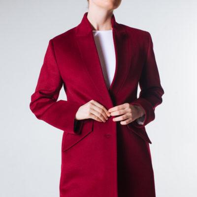 Пальто-пиджак бордо