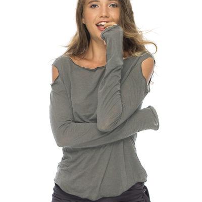 Кофта серого цвета с вырезами на плечах