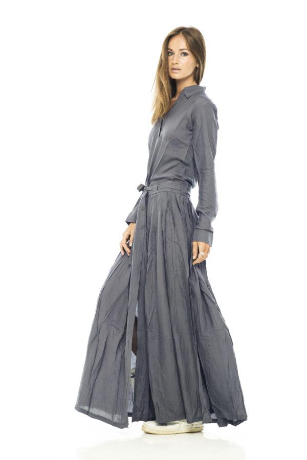 Платье рубашка из серого хлопка