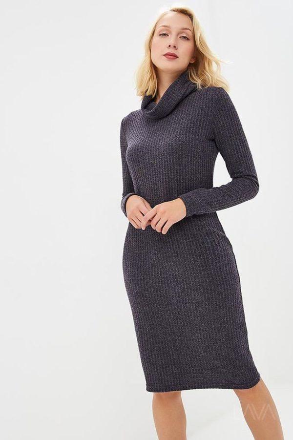 Дизайнерское платье лапша синяя