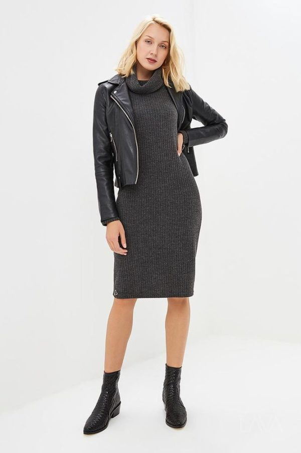 Дизайнерское платье лапша серое