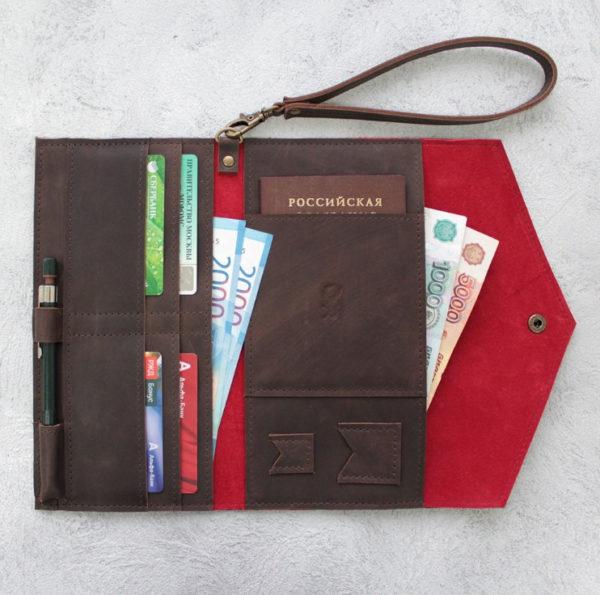 Портмоне TravelHolder - Шоколадный крейзи хорс + красный