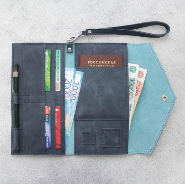 Портмоне TravelHolder - Синий крейзи хорс + голубой