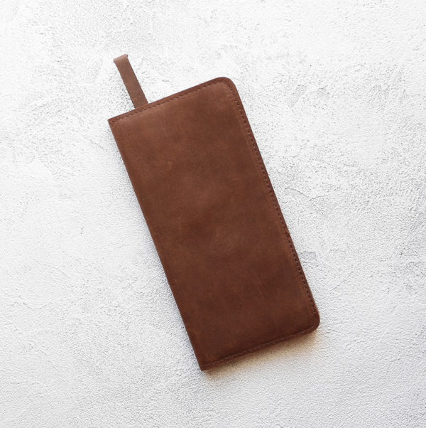 Портмоне ThinPurse - Шоколадный воск + серо-бежевый
