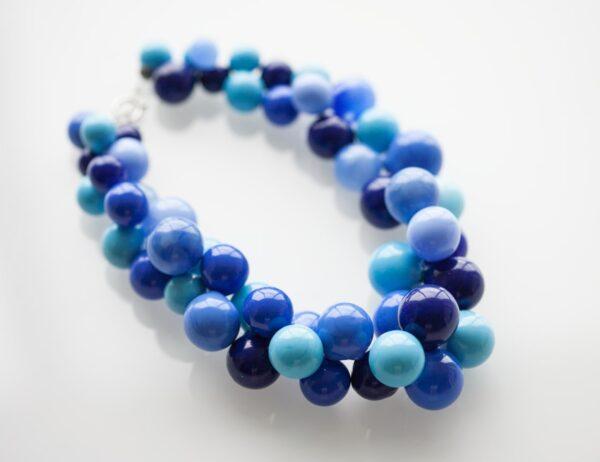 """Ожерелье из прозрачных стеклянных сфер цвета """"Аквамарин"""""""