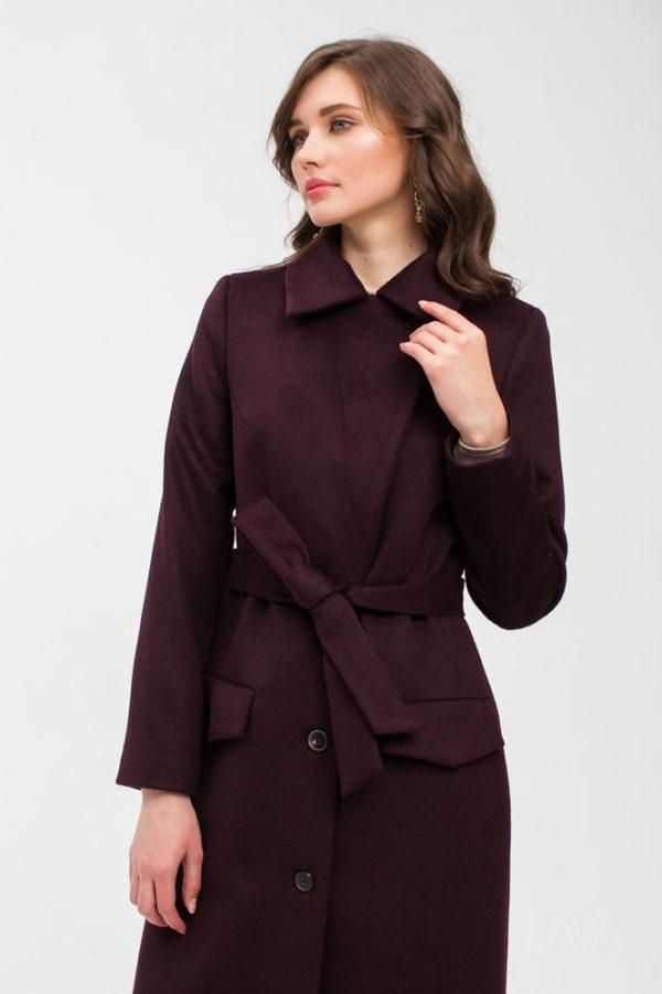 Дизайнерское длинное пальто марсала