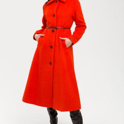 Дизайнерское пальто красное