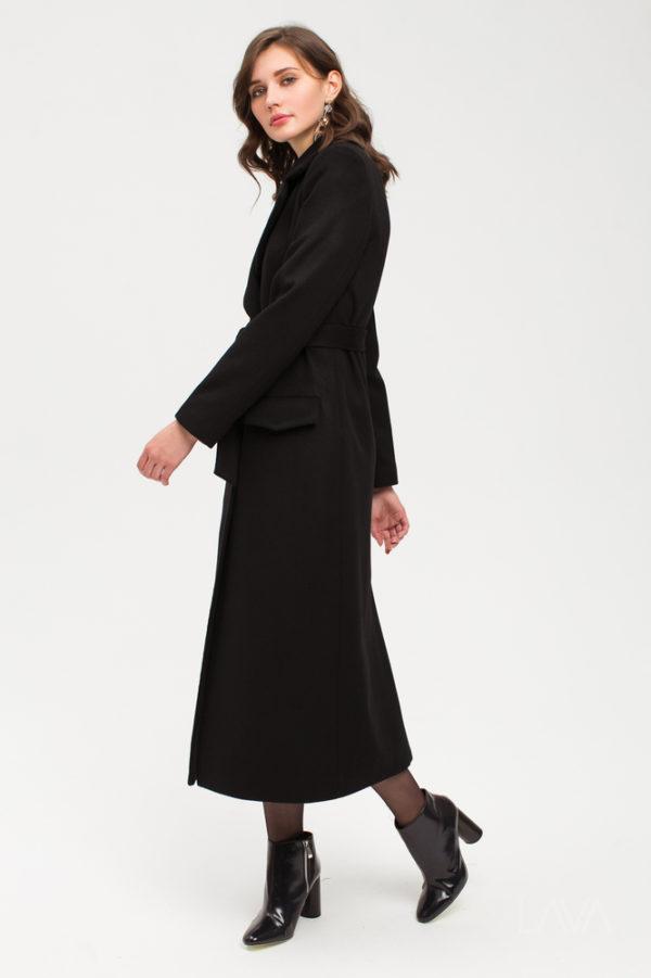 Дизайнерское длинное пальто черное