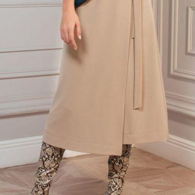 Дизайнерская бежевая юбка с запахом