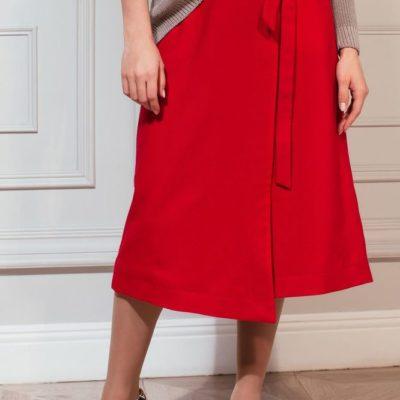 Дизайнерская красная юбка с запахом