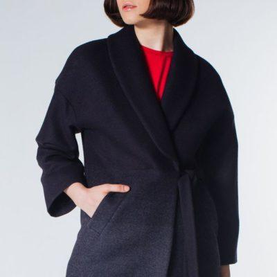 Дизайнерское синее пальто-кимоно