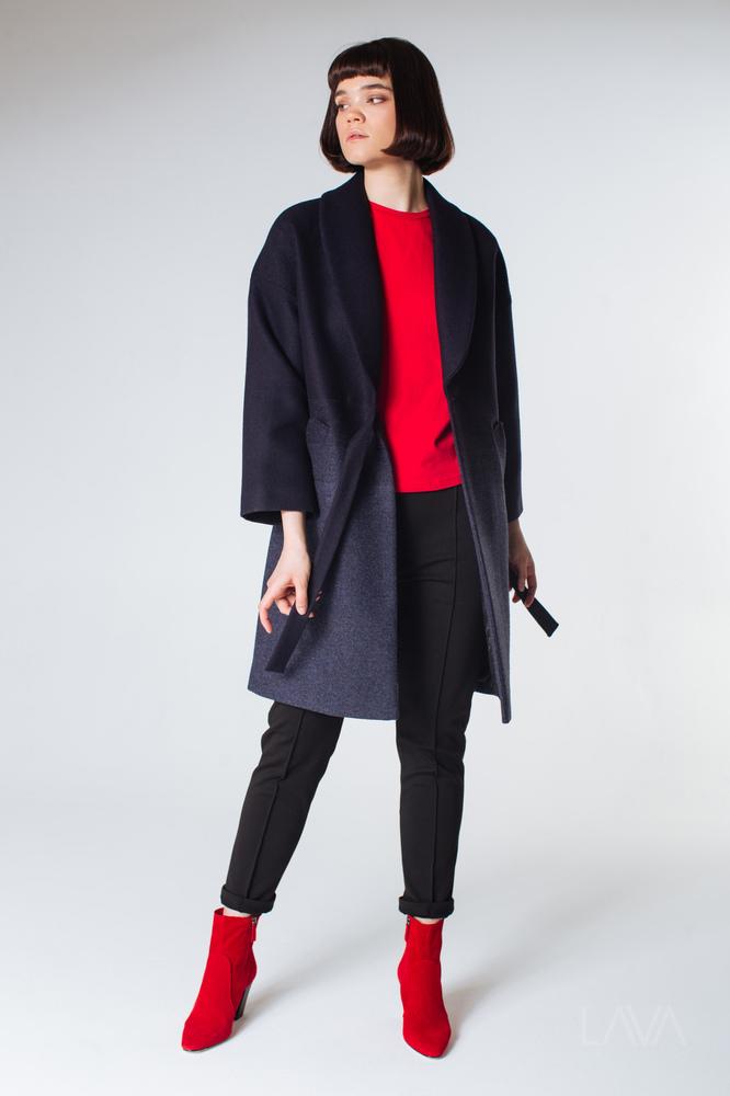 83a65971212 Дизайнерское синее пальто-кимоно купить в Москве с доставкой ...