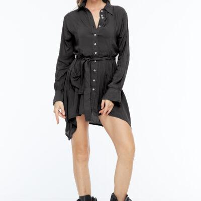 Черное платье рубашка короткое