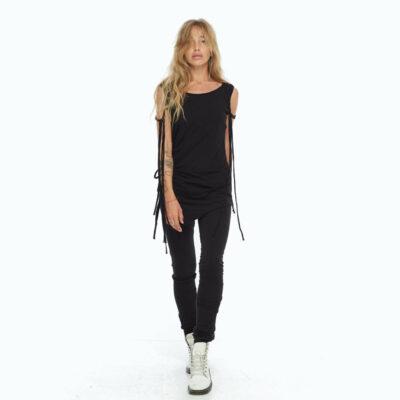 Черные лосины с асимметричной юбкой