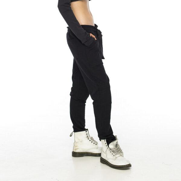 Штаны с мотней черного цвета с шелковым поясом (Копировать)